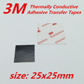 40 unids/lote 3 M 25x25mm almohadilla térmica cinta adhesiva de doble cara Cintas de Transferencia térmica Conductiva Adhesivas para disipador de calor radiador