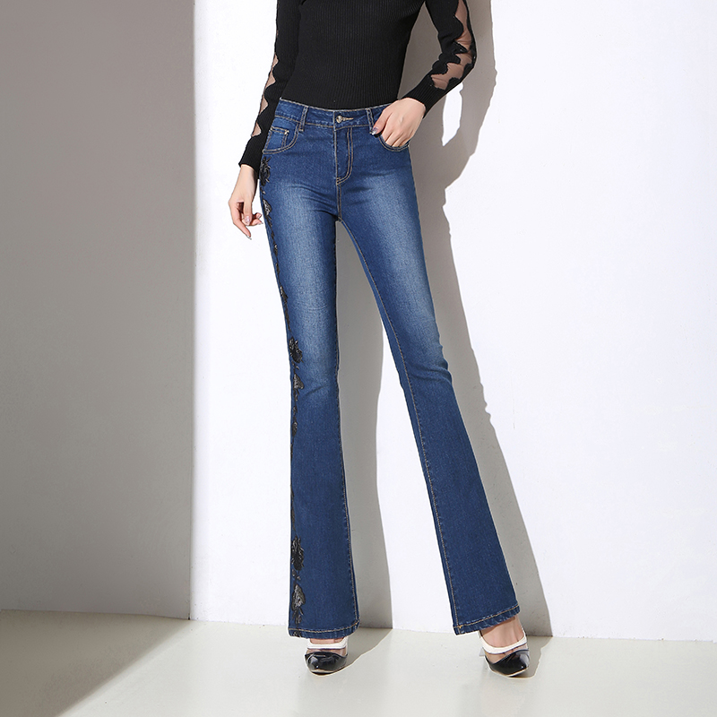 2019 New Lady Embroidery Denim Flare Pants Casual High Waist Women Jeans Skinny Fit Slim Full Length Female Quality Jean