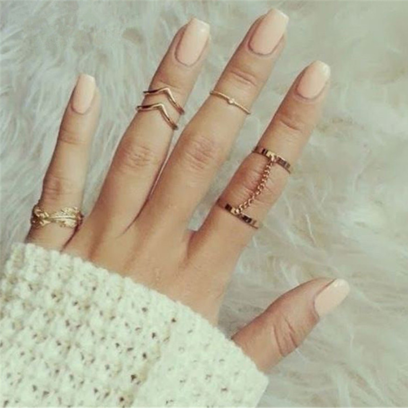 SHUANGR 2016 New 6pcs /lot Shiny Punk Style Stacking Midi Finger Knuckle Rings Charm Leaf Ring Set for Women Jewelry