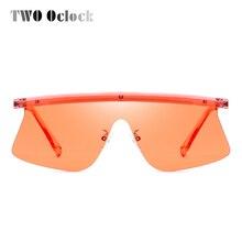 TWO Oclock Shield Sunglasses Women Brand Design Intergrated