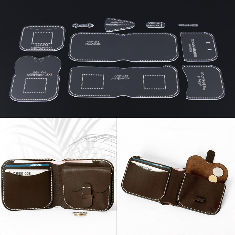 Wallet Leather Craft Acrylic Bag Backpack Pattern Stencil Template Tool DIY Set