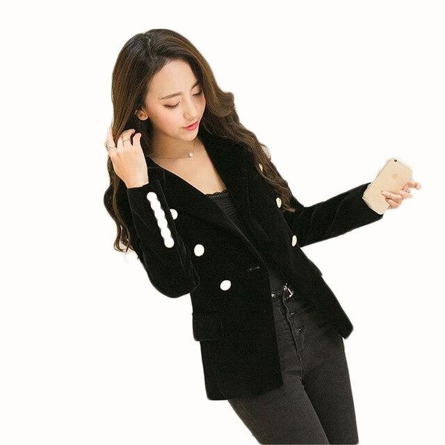 4c8407b8826 Nouveau Printemps Mode Femmes Minuit Marine Mince Velours Blazer Veste  Double Boutonnage Simple Dame Blazers de