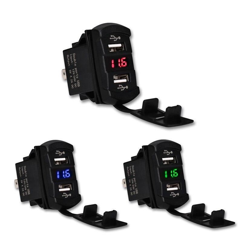 Автомобильное зарядное устройство 12 В 24 В 4,2 а с двумя usb-портами, зеленый, красный, синий светодиодный вольтметр, измеритель напряжения, 2 пор...