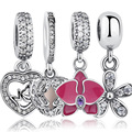 925 Sterling Silver Angel Wings Radiant Orchid Dazzling Daisy Pendants & Beads Fit Pandora Charms Bracelet Heart Jewelry