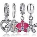 925 sterling silver angel wings orquídea radiante deslumbrante margarida pingentes & beads fit pandora encantos pulseira coração de jóias