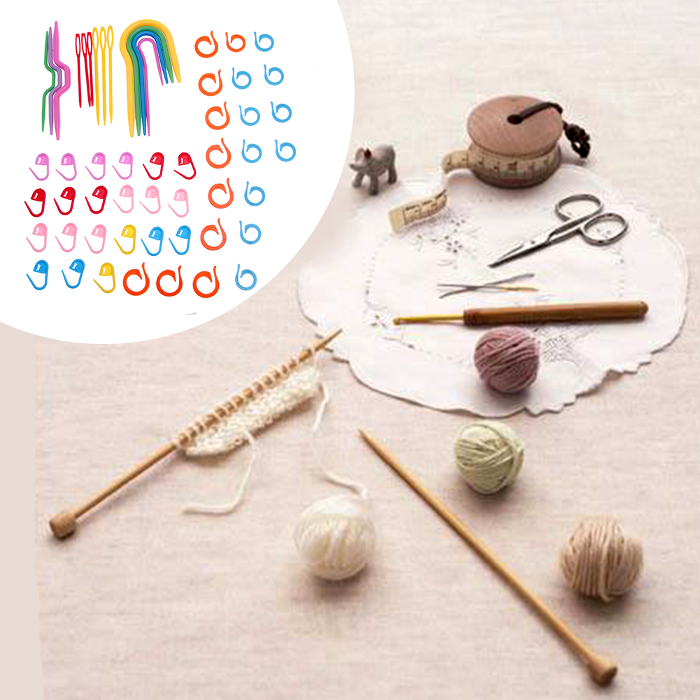 1 Set Plastic Knit Stitch Knitting Needles Crochet Hook Plastic Markers Needle Clip Craft Crochet Locking Knitting Accessories in Sewing Tools Accessory from Home Garden