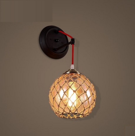 American Loft Style Glass Edison Wall Sconce Industrial Vintage Wall Light For Bedside Antique Hemp Rope Lamp Lampara Pared loft style iron edison wall sconce industrial lamp wheels vintage wall light fixtures antique indoor lighting lampara pared