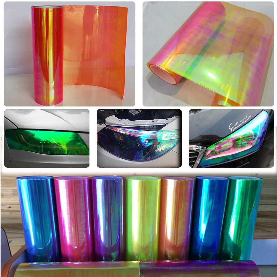 Car Sticker Sheet Chameleon Neo chrome Red Headlight Fog Light Taillight Vinyl Tint Films-in Car Stickers from Automobiles & Motorcycles