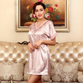 New Summer Nightgown Silk Tracksuit Noble Lace Short Sleeve Nightgown Underwear Women Pink Purple Light Tan Optional Nightdress