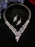 HIBRIDE AAA Clear Cubic Zirconia Necklace Earrings Jewellery Sets CZ Zircon Stone Wedding Jewelry Sets for Brides N 1060