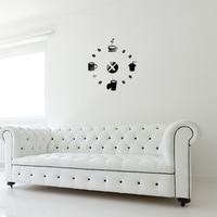 Coffee Cups Kitchen wall art 3d diy wall clocks mirror clock modern design watches home decoration DIY decor sticker living room