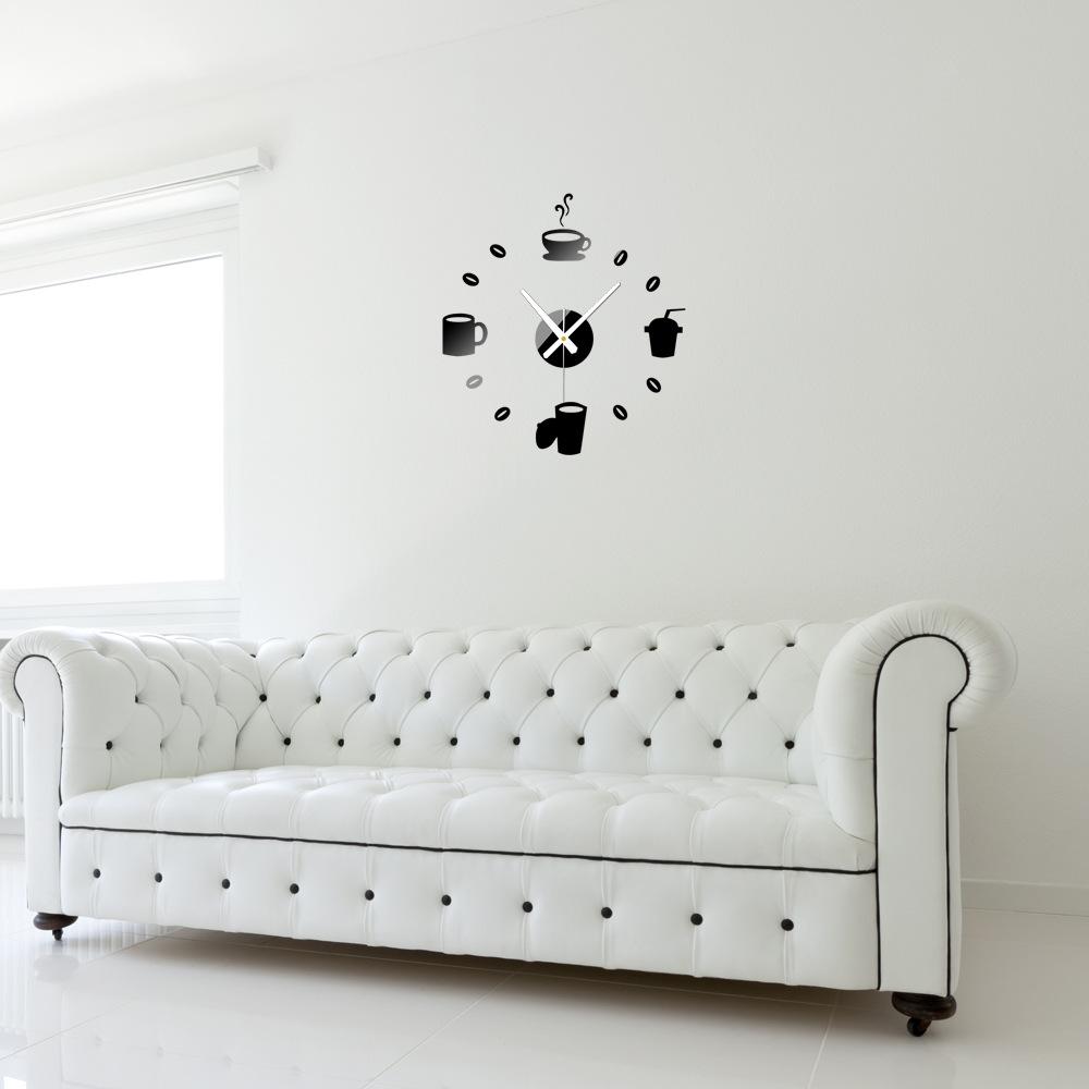 tazas de caf cocina arte de la pared de diy d relojes de pared espejo diseo moderno del reloj de relojes de decoracin del ho