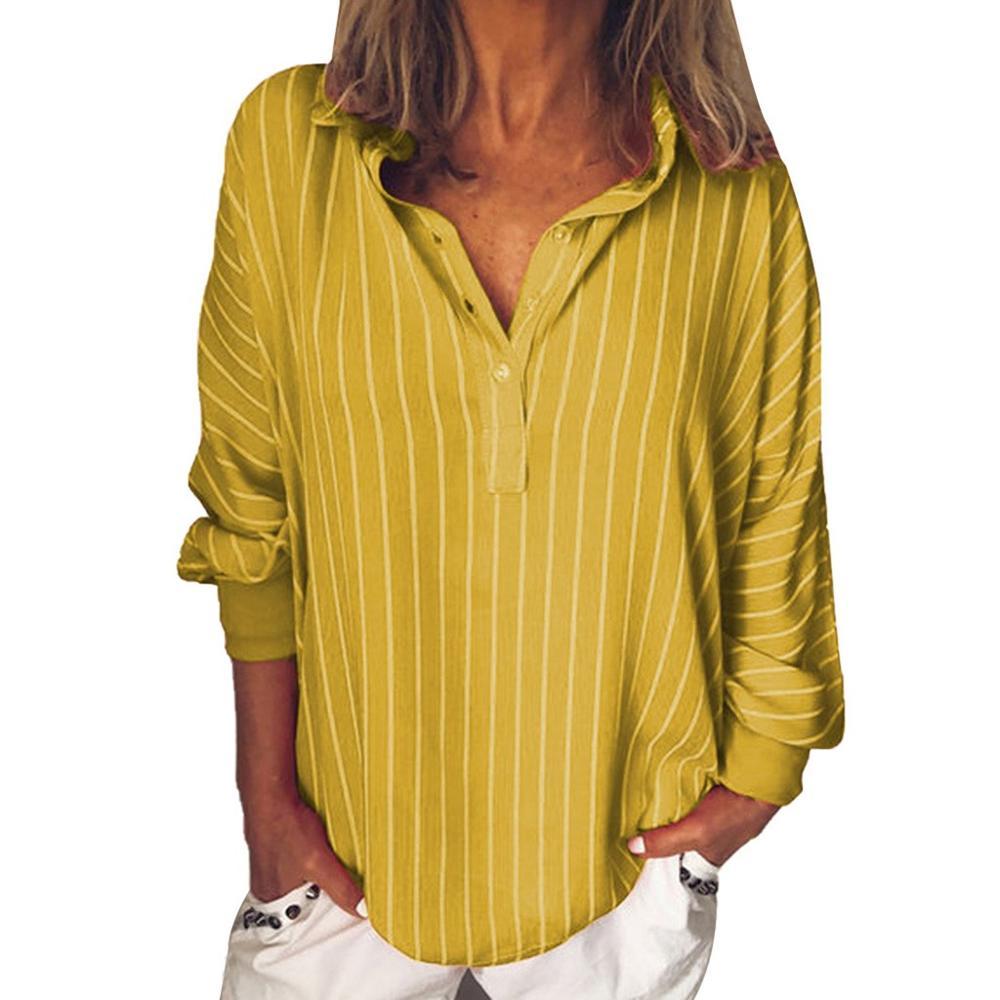 5b05eeac Mode été femme blouses rayure lâche décontracté rayé bouton revers fille à  manches longues chemise haut chemisier bouton femme vêtements ~ Hot Deal  June ...