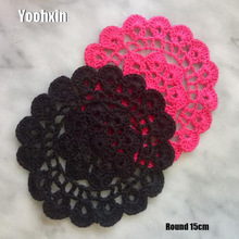 Modern Flower Placemats Cup Pad Coasters Kitchen Table Mats Cotton Fabric Crochet Place Doily 15cm Round Placemat