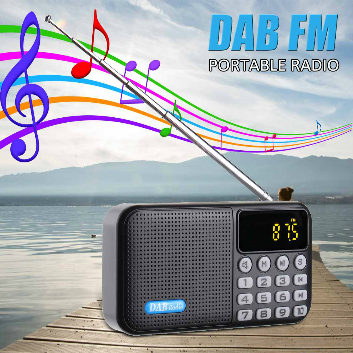 FM Radio Digital Bluetooth Receiver Stereo MP3 Player Speaker Portable DAB//DAB