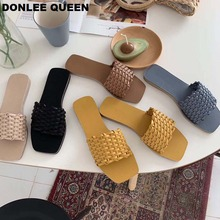 купить DONLEE QUEEN Women Slippers Babouche Female Clogs Platform Summer Ladies Rubber Peep Slides Flat Woven shoes Slip On Sandal Shoe по цене 1319.26 рублей