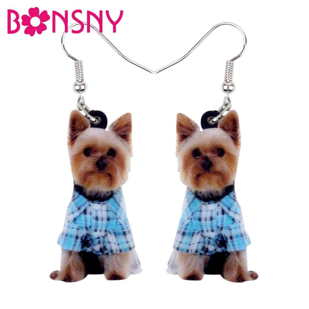 Bonsny Statement Acrylic Lovely Yorkshire Terrier Dog Earrings Big Long Dangle Drop Animal Jewelry For Women Girls Ladies Teens