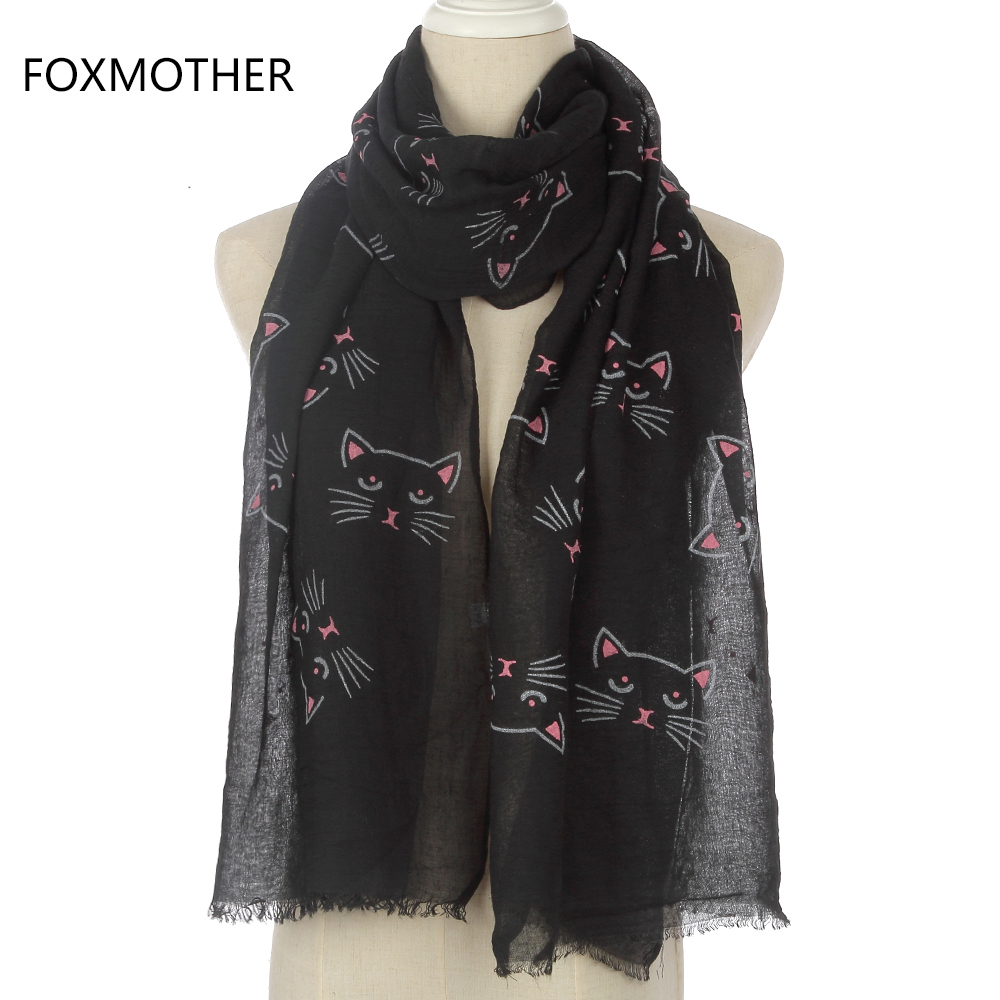 FOXMOTHER New Bonito Moda Feminina Preto Cinzento Bege Gato Imprimir Scarf Longo Para Mulheres