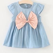 Pure bow Jeans Dress New Princess Children Girls Summer Dress Toddler Kids Sleeveless Bow Denim Dresses Sundress Outfit Clothes