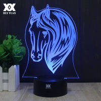 7 Color Horse Head Lamp 3D Visual Led Night Lights For Kids Touch USB Desktop Decoration