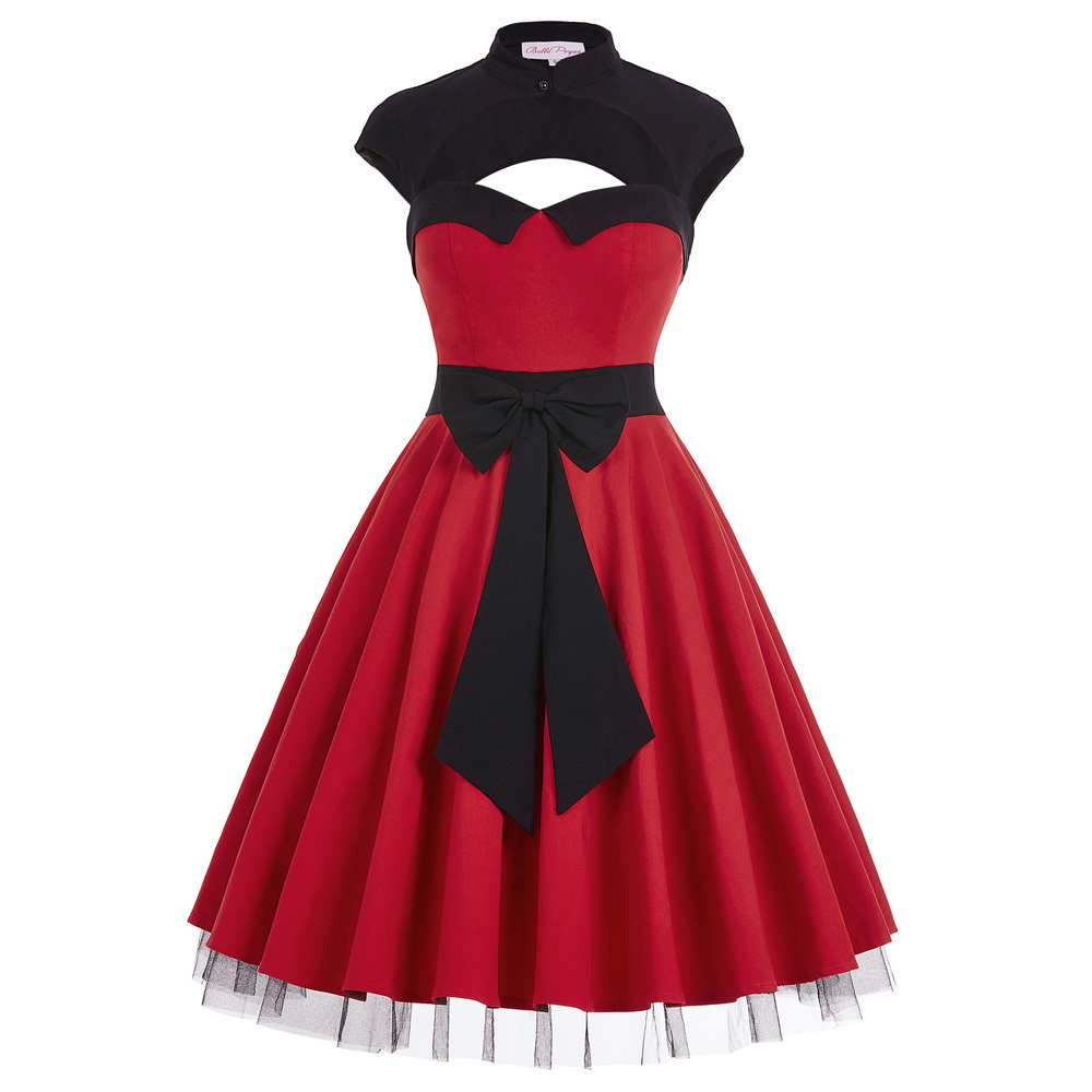 Summer Vintage 50s Dress 2016 New Fashion Cap Sleeve Hollowed Large Bow Knot Tulle Patchwork Red