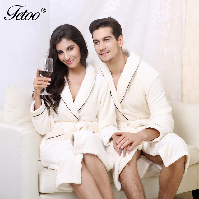 Fetoo High Quality Couples Robes Flannel Thick Warm Dressing Gowns ...
