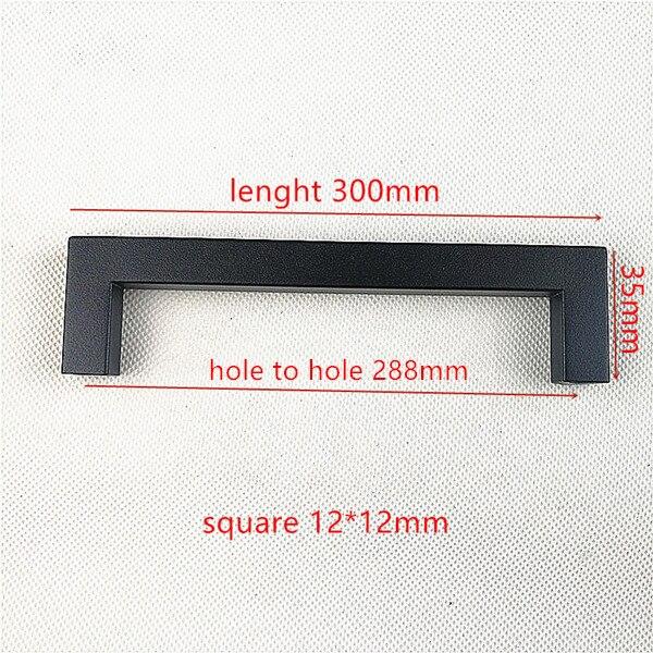 """Матовая черная квадратная ручка из нержавеющей стали Ручка для кухонной двери мебельный ящик """"~ 24"""" - Цвет: Hole spacing 288mm"""