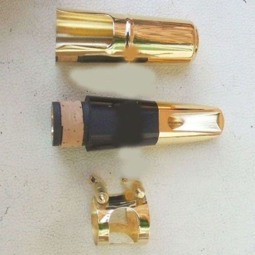 New gold plated Metal clarinet mouthpiece + metal cap and strap