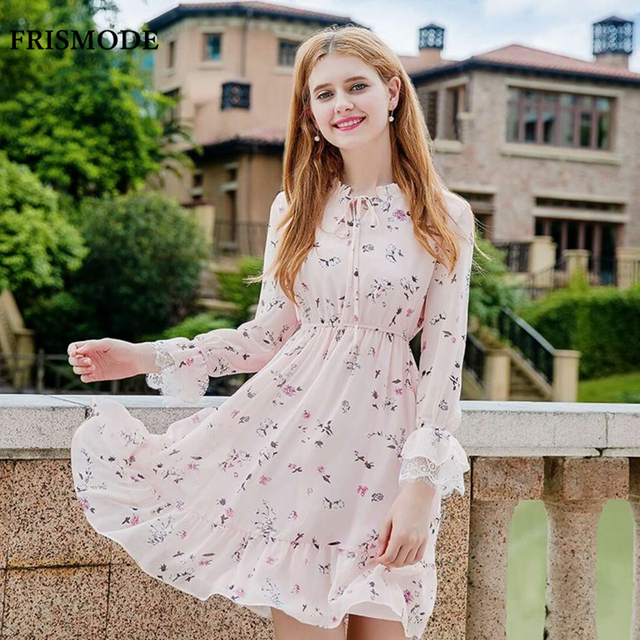 5ff5997613b Young Lady Cute Pink Floral Dress 2018 new Autumn Long Sleeve Elastic waist Tunic  Dresses Women Sweet Ruffles Chiffon Dress