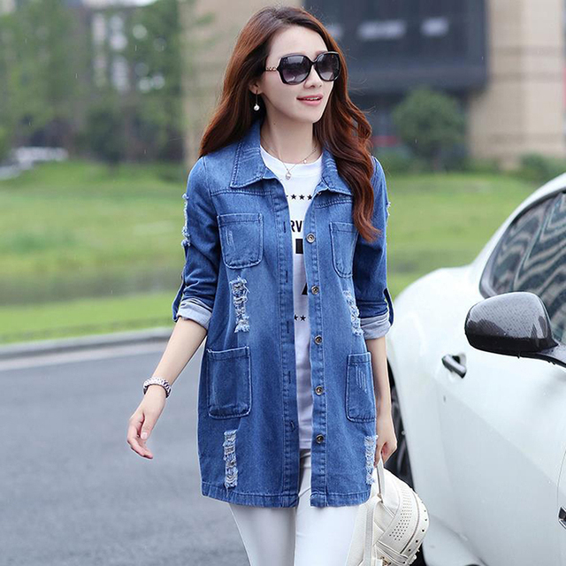 Bigsweety Long Jeans Coats Women Slim Ripped Denim Jacket Femme Elegant Vintage Frayed Jackets