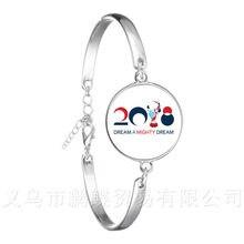 Abudhabi Waka Bracelet 2018 Russia World Cup Mascot Logo Football Glass Dome Silver Plated Chain Bangle For Fo Fans Souvenir(China)
