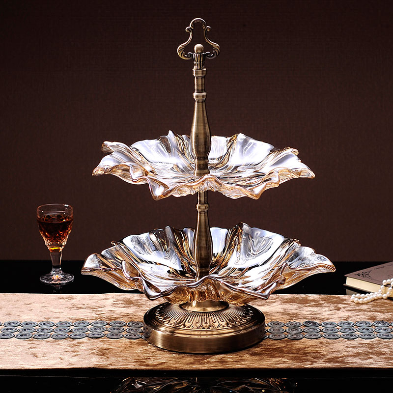 European compote crystal glass fruit plate table decoration luxury suit large double disc nuts