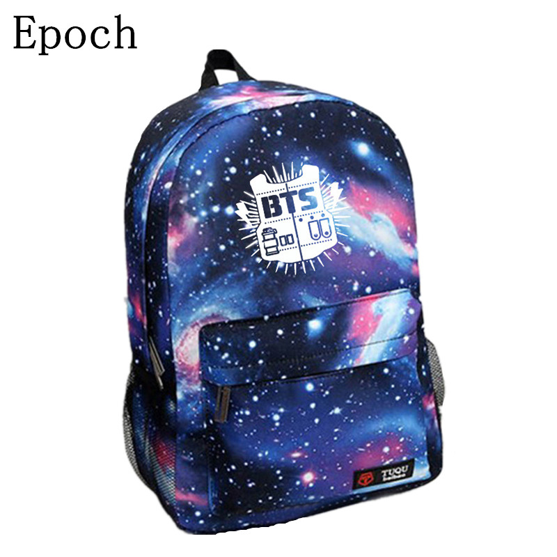 Epoch Korean New Galaxy Printing Backpack For Women BTS Backpack Bigbang Waterproof Nylon Men Backpack School Bag For Teenagers 2013 bigbang alive galaxy tour