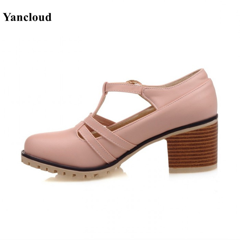 ФОТО High Quality Womens Kitten Heel Shoes Summer 2017 Platform Square Heel Pumps Women Mary Jane Shoes Office & Leisure