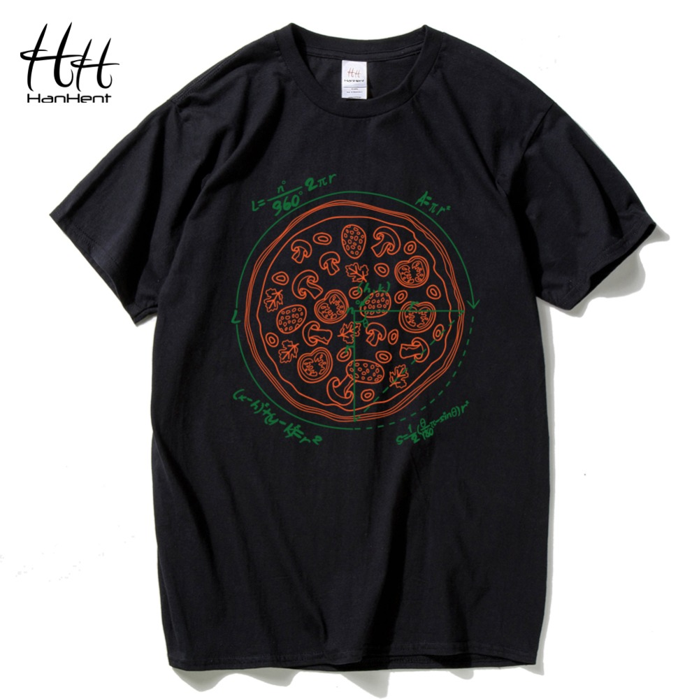 HanHent Math Pizza Men's   T  -  shirts   Creative Casual Print Cotton Men Tee   shirt   Funny Streetwear Geek   T     shirts   New Boys TH5421