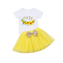 0-24M Baby Girl 1st Birthday Tutu Short Sleeves Sunflower Letter Print Romper Tops Bowknot Pleated Solid Cake Skirt 2Pcs Outfits недорого
