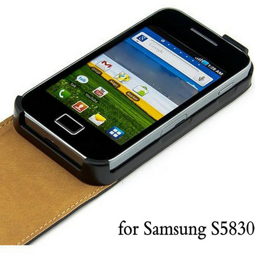 Black Real Leather Flip Case for Samsung Galaxy Ace S5830 S5830i Mobile Phone Durable Cover White Drop Ship