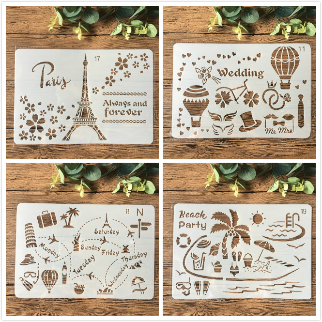 4Pcs/Set 26cm Paris Tower Travel Craft DIY Layering Stencils Painting Scrapbooking Stamping Embossing Album Paper Card Template
