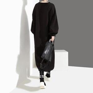 Image 3 - Женское Повседневное платье с бахромой, черное свободное платье большого размера из искусственной кожи с длинными рукавами и карманами, модель 2020 на осень и зиму, 4029