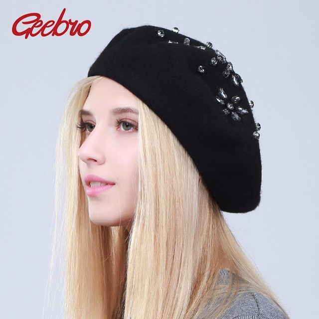 4c463a34 Geebro Women's Beret Hat Fashion Solid Black Wool Knitted Berets With  Rhinestones Ladies French Artist Knit Beret Hat female