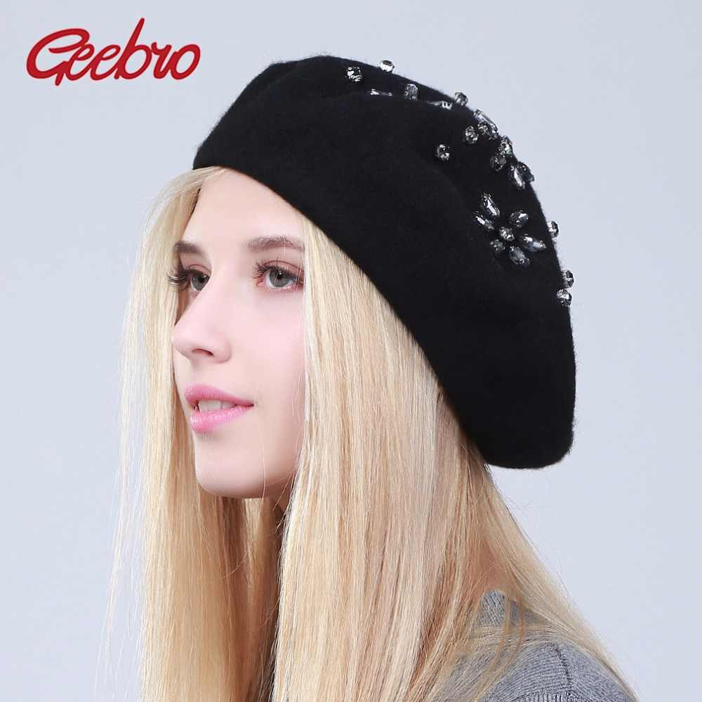 9768d8f84f4cd Geebro Women s Beret Hat Fashion Solid Black Wool Knitted Berets With  Rhinestones Ladies French Artist Knit