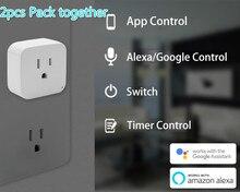 2 piezas paquete WiFi inteligente del zócalo nos enchufe de la UE versión WiFi control remoto inalámbrico adaptador hembra de potencia en con teléfono Alexa google