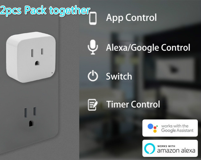 2pcs pack WiFi Smart Socket US EU Plug WiFi Version Wireless Remote control Socket Adaptor Power on off with phone Alexa google-in Mobile Phone Chargers from Cellphones & Telecommunications