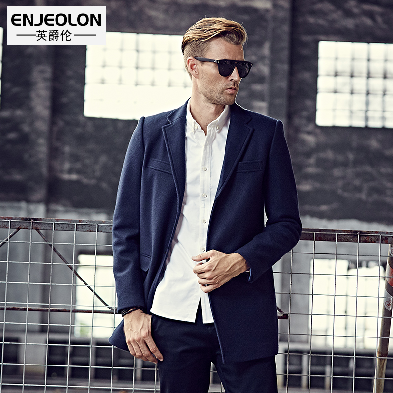 Enjeolon brand 2017 Men's casual Long Wool Blends New Male Single Breasted woolen coats outwear Windbreaker caot jacket WT0812