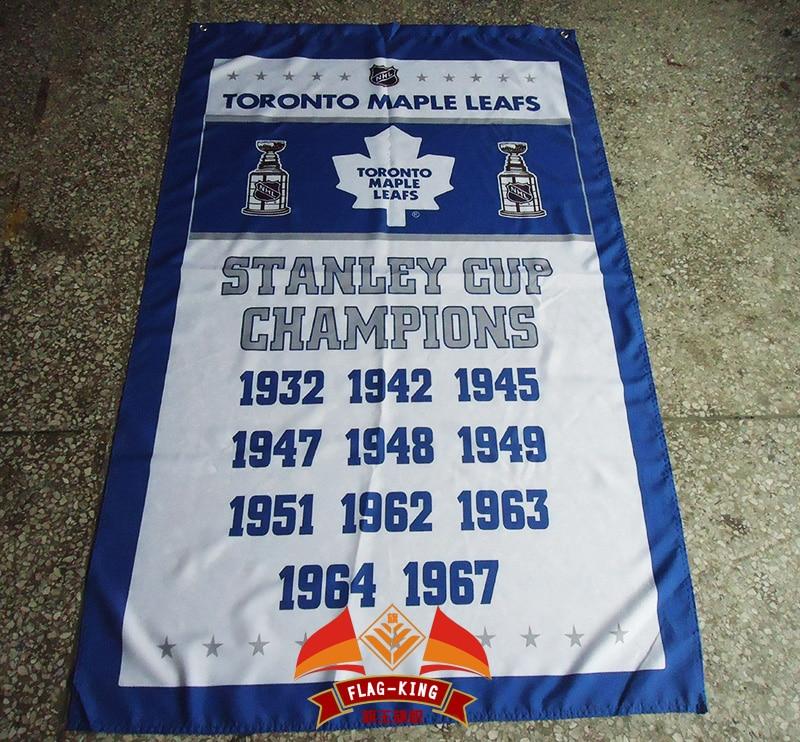 <font><b>Toronto</b></font> <font><b>Maple</b></font> <font><b>Leafs</b></font> <font><b>Stanley</b></font> <font><b>Cup</b></font> <font><b>Champions</b></font> <font><b>Flag</b></font> 3x5 FT 150X90CM Banner 100D Polyester Custom <font><b>flag</b></font> grommets