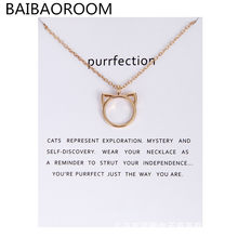 Fashion Jewelry Purrfection cat ear alloy pendant short necklace Women Gift(China)