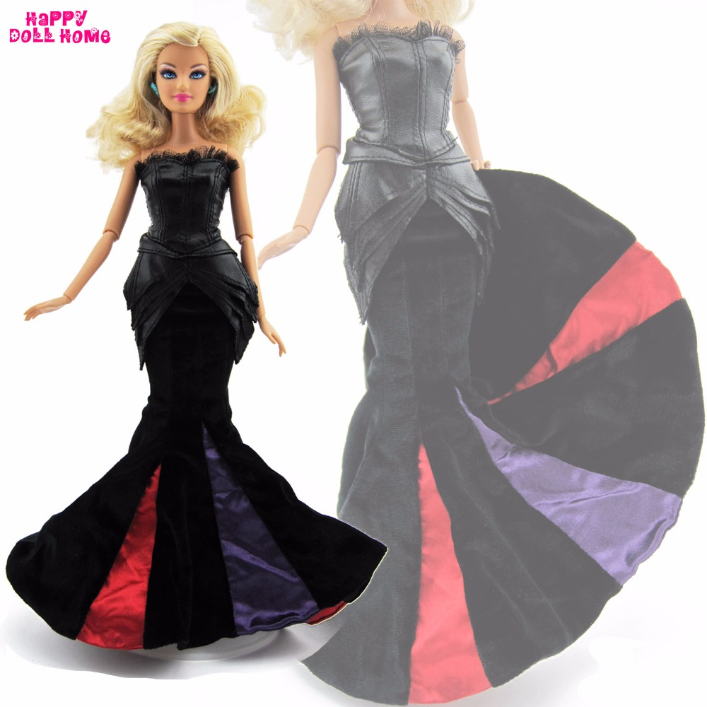 High Quality Handmade Dress Fashion Wedding Party Gown Evening Suit Fishtail Skirt Clothes For Barbie FR Doll Accessories Gift magic poker box magic props black