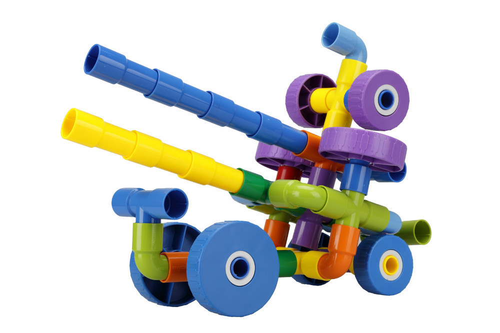 Y14260 Multi function Pipeline Plastic Fight Inserted Building font b Blocks b font 50Pcs 4 Wheels