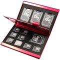 2016 De Aleación De Aluminio Micro para SD MMC TF Tarjeta de Memoria de Almacenamiento 4x Protecter caja de la Caja de Tarjeta SD 8 x Micro SIM tarjeta