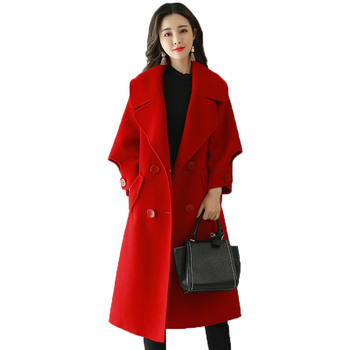 Red Women Wool Coat Double-Breasted Fashion Long Parka Overcoat New Autumn And Winter Coat Women Elegant Warm Women Jacket C4975